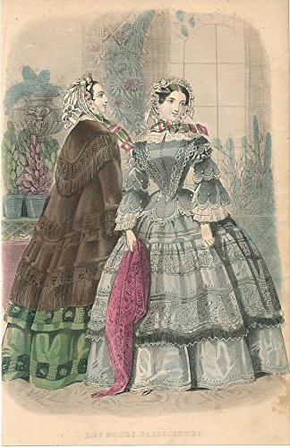 Fringed cape & lace trimmings 1855 lovely hand color fashion print ()