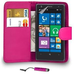 123 Online Nokia Lumia 1020 Hot Pink Cartera de cuero del caso del tirón de la cubierta Pouch + Mini Touch Stylus Pen + Protector de pantalla y paño de pulido