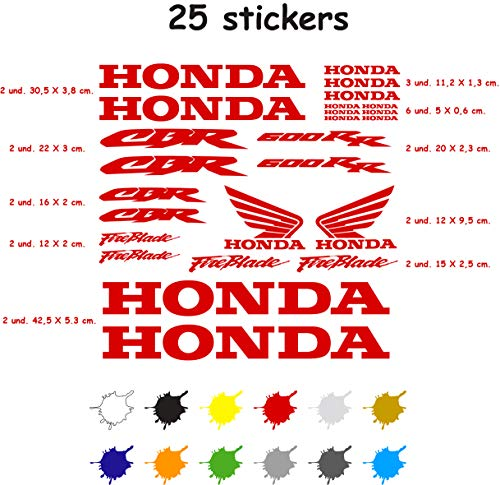 Stickerset voor motorfiets, vinyl, 7 jaar, gestanst, compatibel met Honda CBR 600 RR Bevat 25 stickers (rood)