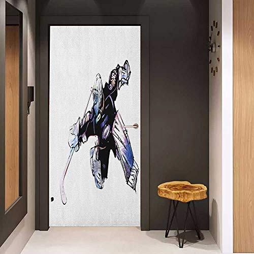 Onefzc Automatic Door Sticker Hockey Goalkeeper in Hand Drawn Style with Protective Gear in a Competitive Game Easy-to-Clean, Durable W38.5 x H77 Purple Black -