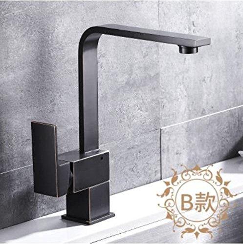 Decorry Alle Kupfer antik schwarz Hahn Badezimmer Badewanne mit warmen und kalten Wasserhahn Waschbecken Waschbecken Wasserhahn Drehbare, B