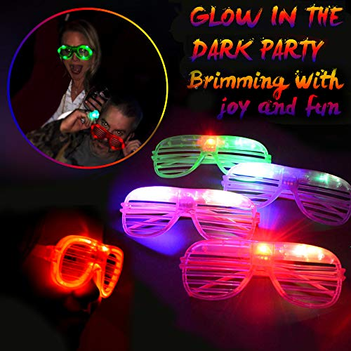 Randosk 24 Pack LED Glasses Glow in The Dark Party Favors Supplies for Kids Light Up Toy Bulk with Flash Light 3 Replaceable Battery for Mother's Day Birthday Holiday Outdoor Party by Randosk (Image #1)