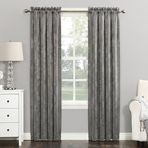 Sun Zero Cassidy Textured Velvet Blackout Rod Pocket Curtain Panel, 52″ x 95″, Fawn Beige For Sale