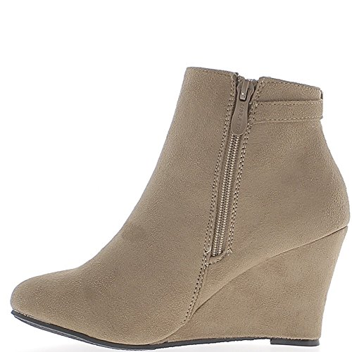 ChaussMoi Wedge Boots Taupe 8cm Suede Look Heel pdTOOslPzy