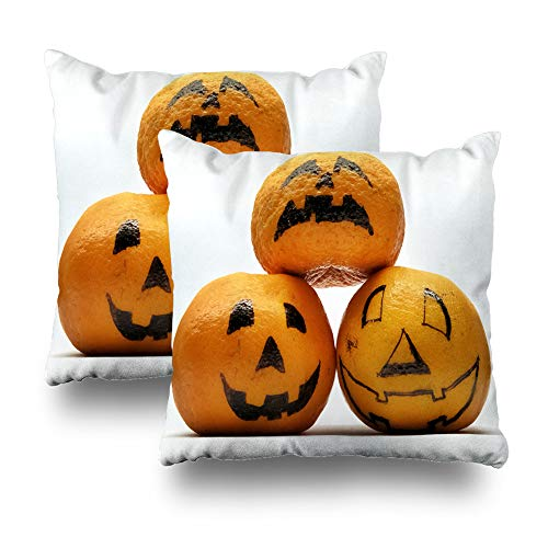 (Kutita Set of 2 Decorative Pillow Covers 18 x 18 inch Throw Pillow Covers, Tangerines with Three Halloween Meme Funny Characters Isolated Pattern Double-Sided Decorative Home Decor)