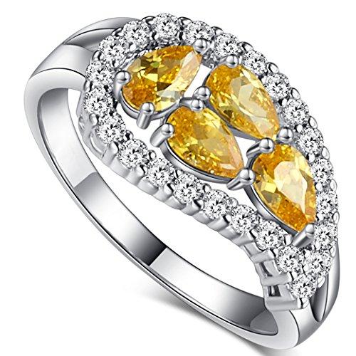 Cut Stone Pear (Veunora Ladies Gorgeous 3x5mm Pear Cut Citrine Gemstone Leaf Ring Size 6)