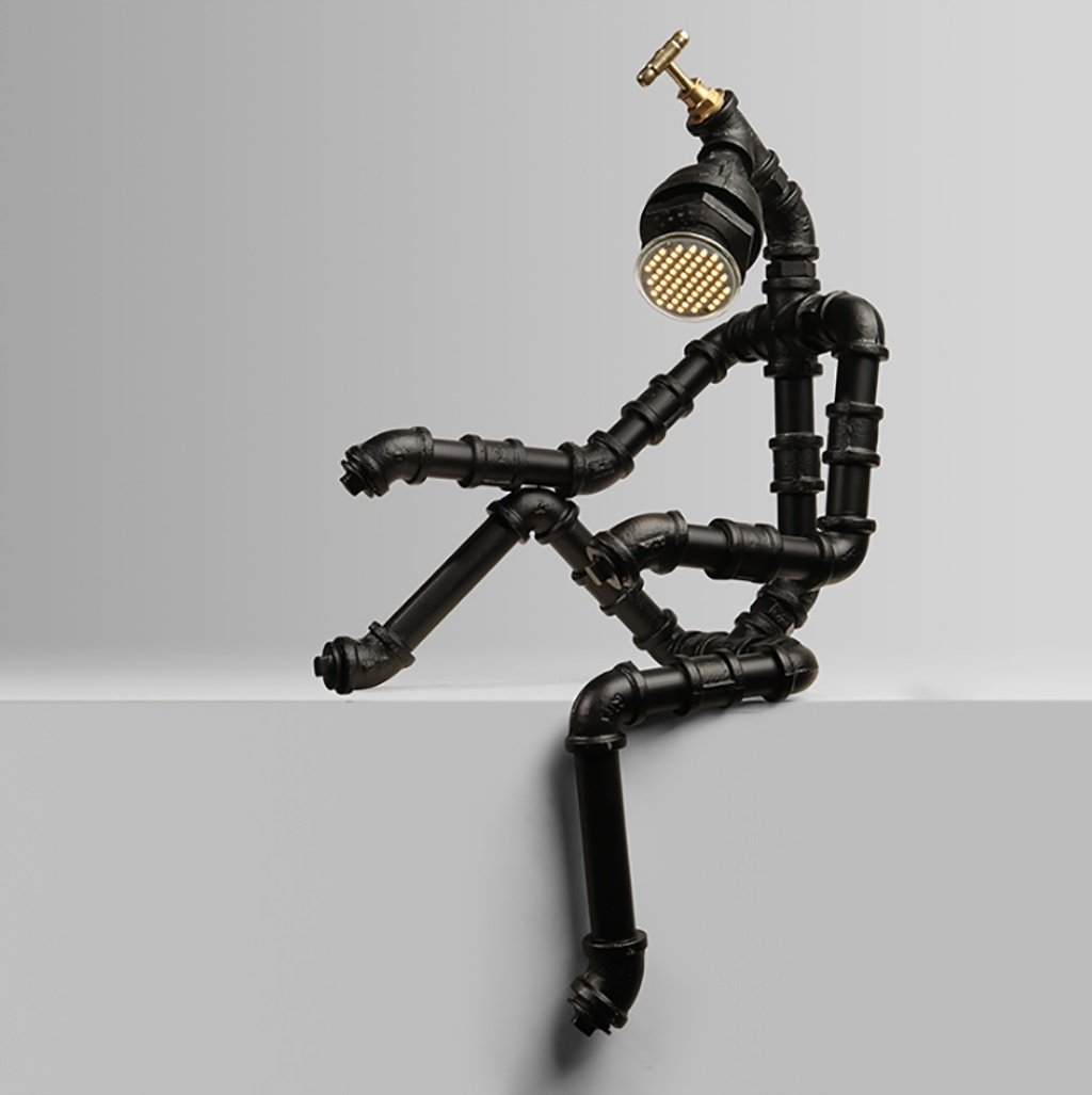 Retro Water Pipe Iron Art LOFT Study Desktop Eye Protection Table lamp/Personality Creative Industrial Wind Bedside Robot Table lamp Size: 1450cm