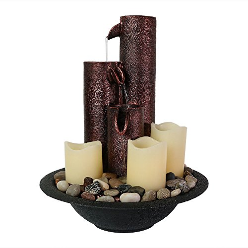Sunnydaze Three Tier Column Tabletop Water Fountain with LED Candle Lights Copper Round Wall Water Fountains