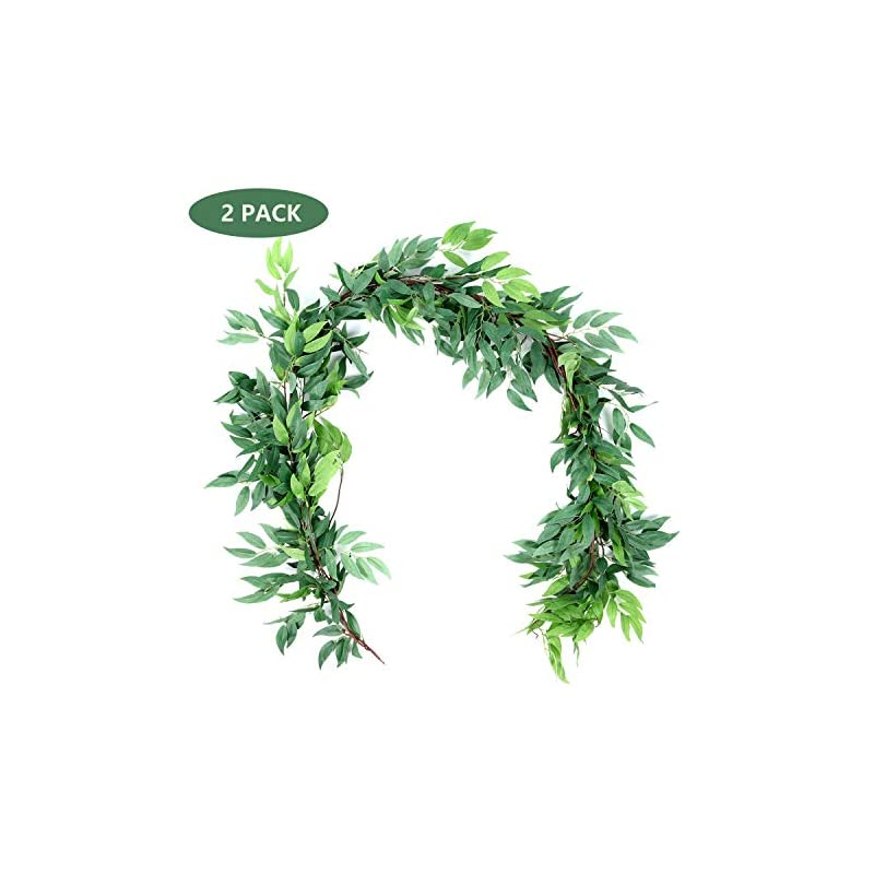 silk flower arrangements dee duoduo 2pcs artificial willow garland, 5.9ft faux silk willow leaves vines hanging willow leaves garland greenery artificial vines for wedding backdrop arch wall decor (green)