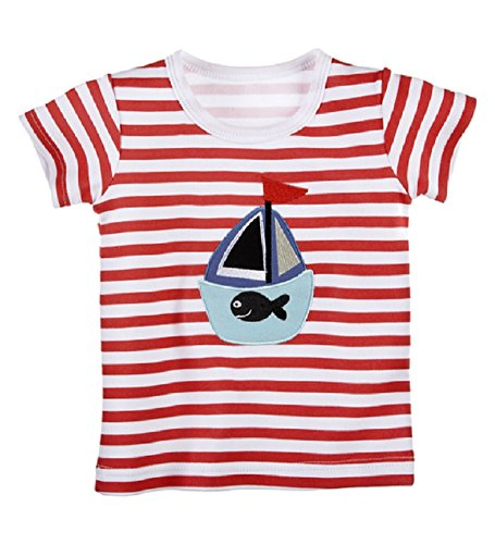- Nautical T-Shirt wtih Appliqued Sailboat, Fish by Baby Ganz - 6-12 Months