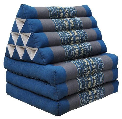 Fold Pillow (Foldout Triangle Thai Cushion Three Fold Jumbo Size, Blue)
