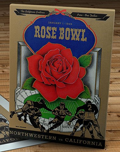 (1949 Vintage Rose Bowl - Northwestern Wildcats - California Bears Football Program - Canvas Gallery Wrap - 12 x 16)