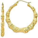 ICE CARATS 14k Yellow Gold Bamboo Hoop Earrings Ear Hoops Set For Women