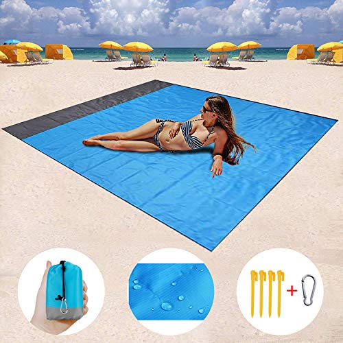 Mumu Sugar HONGVI Sand Free Beach Blanket, Quick Drying Ripstop Nylon Compact Outdoor Beach Mat Best Sand Proof Beach Mat for Travel, Camping, Hiking and Music Festivals(82