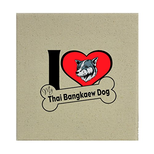 Style in Print Stretched Natural Canvas I Love My Thai Bangkaew Dogdog Style 2 8''X8'' by Style in Print