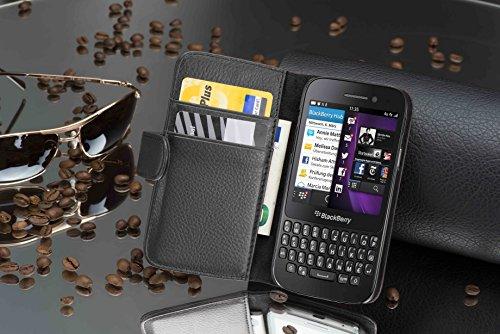 Cadorabo - Funda Blackberry Q5 Book Style de Cuero Sintético en Diseño Libro - Etui Case Cover Carcasa Caja Protección con Tarjetero en NEGRO-ÓXIDO NEGRO-ÓXIDO