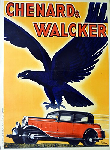 Vintage French ad for car Large lithograph Chenard & Walcker ca. 1930 poster