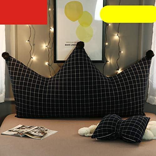 クラウン柄ベッドサイドクッションプリンセスルーム枕ソフトバッグ背もたれ枕子供のベッドクッション洗えるサポート背もたれ(90 * 70CM、70CM * 120) (Color : H, Size : 90*70CM)