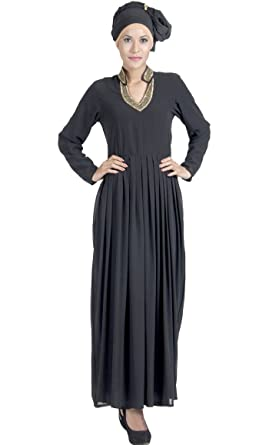 6072b12b1 Double Layer pleated Black Georgette Abaya Evening Dress-Peach-S ...