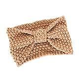 Seamount Womens Headwear Hair Ball Knitting HairBand,Retro Tie Handmade Bow Warmer Winter Head Wrap (Khaki)
