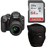 """Nikon D3400 + SDXC de 64 GB + Funda AmazonBasics -  [Versión española con acceso a Nikonistas y 6 cursos gratis] Kit de cámara réflex digital de 24.2 MP con objetivo estabilizado 18-55 AFP DX VR (LCD 3"""", con Snapbridge, vídeo Full HD), color negro"""