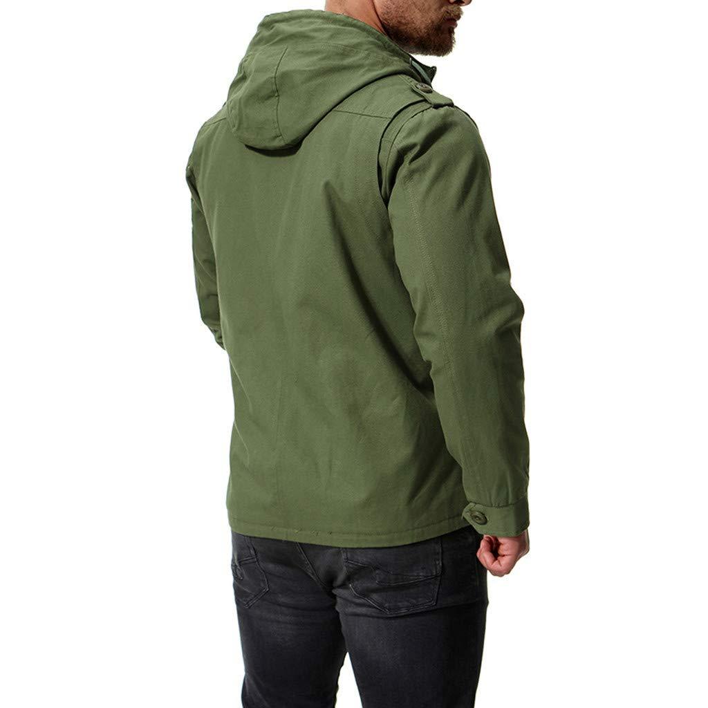 aliveGOT Mens Outdoor Cargo Military Jacket Zipper Hooded Tactical Jacket