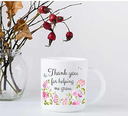 Teacher Appreciation Coffee Mug - Thank You For Helping Me Grow with Pink Flowers and (Thanks For Helping Me Grow)