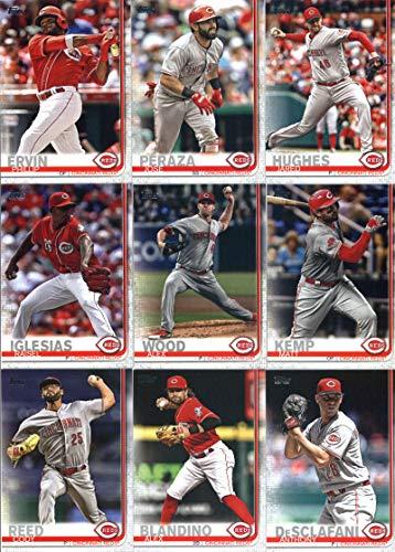 2019 Topps Series 2 Baseball Cincinnati Reds Team Set of 12 Cards: Alex Blandino(#374), Cody Reed(#375), Tyler Mahle(#399), Matt Kemp(#454), Alex Wood(#464), Raisel Iglesias(#465), Anthony DeSclafani(#468), Phillip Ervin(#558), Tucker Barnhart(#573), Jose Peraza(#590), Jared Hughes(#620), Great American Ball Park(#691)