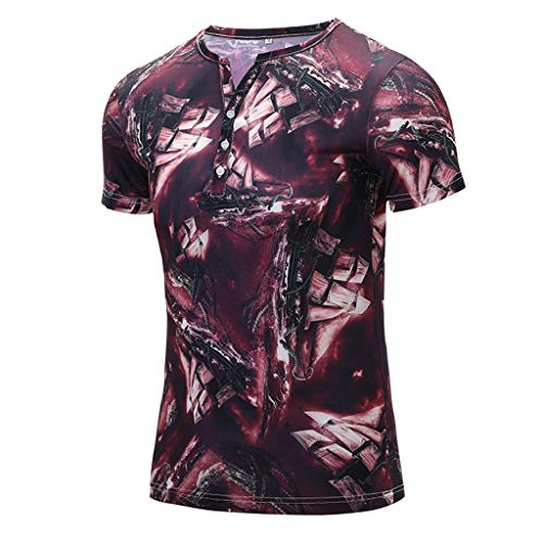 Fashion Men's Colorful Summer Short Sleeve Fit Casual T-Shirt Blouse Tops Red]()