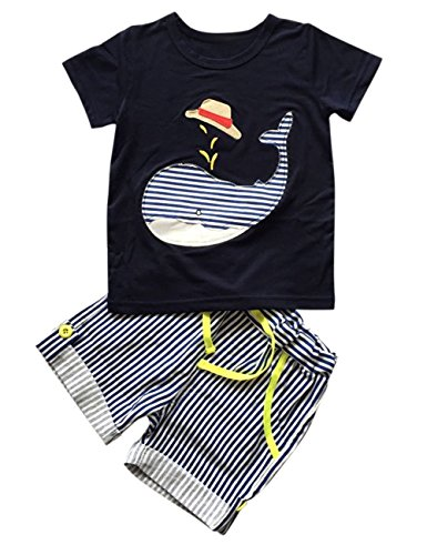 [Yiwa Summer Lovely Stripe Soft Toddler Kids Baby Boy Clothes Cotton Tops Pants Set] (Bowl Of Rice Costume)