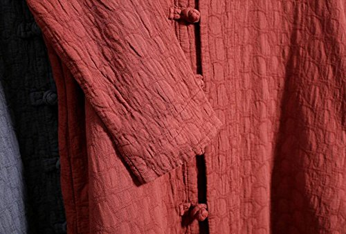 Botones De La Placa De Viento Nacional De Algodón Jacquard Chaqueta Larga De Las Mujeres Del Estilo Chino De Las Yardas De Primavera Y Otoño Chaqueta Rompevientos Grey