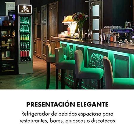 Klarstein Berghain Pro nevera de bebidas - 160 litros, 40 x 188 x 49,5 cm, 2-8 °C, iluminación, se puede cerrar con llave, puerta acristalada, luces de colores, acero inoxidable, nevera de botellas
