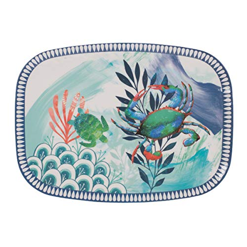 Fitz and Floyd 5247277 Melamine Rectangle Platter, 18-inch, Tranquility