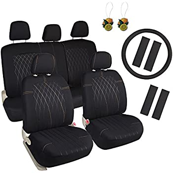 Leader Accessories Embossed Circuit Low Back Cloth Car Seat Cover 17pcs Combo Pack Black Yellow Free Steering Wheel And Air Fresheners