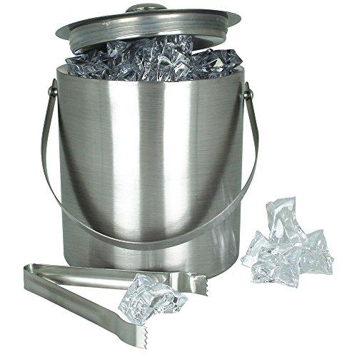 Bar-Eiskühler aus Edelstahl mit Eiszange - Eiskühler - Eiseimer - Eiskühler 1,3L mit Eiszange