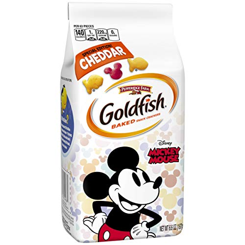 Pepperidge Farm, Goldfish, Special Edition Disney Mickey Mouse, Cheddar Crackers, 6.6 oz (Mickey Mouse Shaped Crackers)