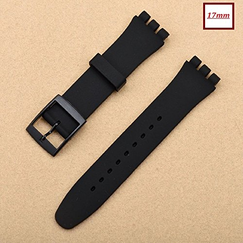17mm Swatch Replacement Synthetic Plastic Black Watch Strap