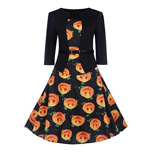 HZY Women's Halloween Dress, Pumpkin Printed Flared Swing