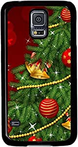 Christmas-Tree-Holiday Cases for Samsung Galaxy S5 I9600 with Black sides