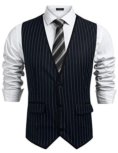 COOFANDY Mens Sleeveless Slim Fit Jacket 3 Button Business Suit (Tan Pinstripe Suit)