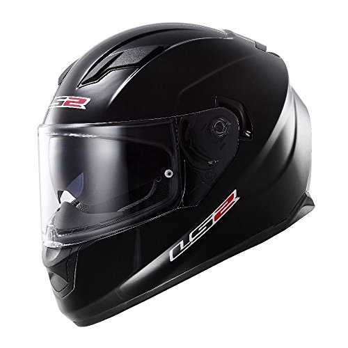 LS2 Stream Solid Full Face Motorcycle Helmet With Sunshield (Black, Large) ()
