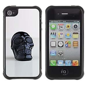 Suave Caso Carcasa de Caucho Funda para Apple Iphone 4 / 4S Skull Plastic Reflective 3D Art Printing / JUSTGO PHONE PROTECTOR