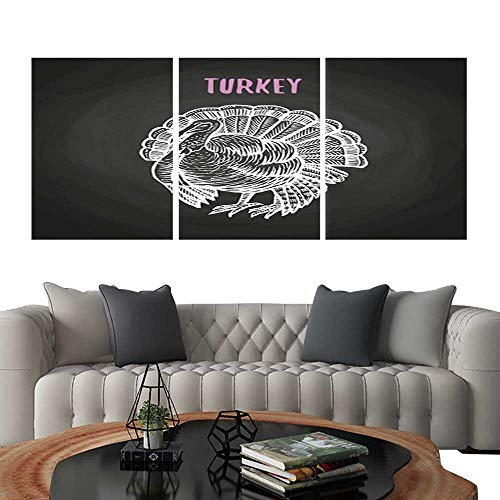 UHOO 3 Piece Wall Art Painting Bird Turkey in Chalk Style on Blackboard. Living Room Kitchen 12