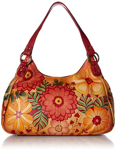 Anna by Anuschka Genuine Leather Ruched Hobo Bag | Hand-Painted Original Artwork | Summer Bloom (Ruched Leather Bag)
