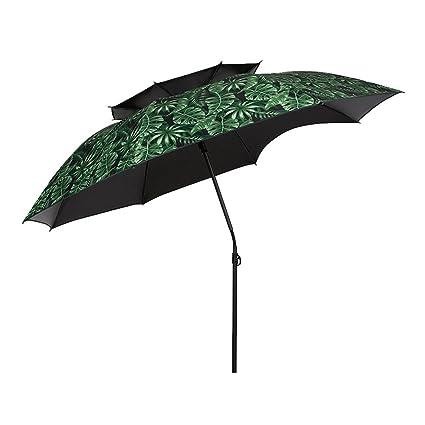 ZHUSAN Paraguas De Pesca Doble Capa con Gap Oversize Ultraligero Ajuste Universal Impermeable Verde Plegable Parasol