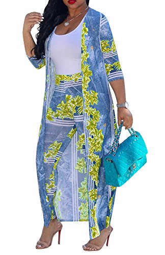 Muesily Women's Long Sleeve Printed Ponchos Duster and High Waist Leggings Set (XX-Large, Yellow 1)