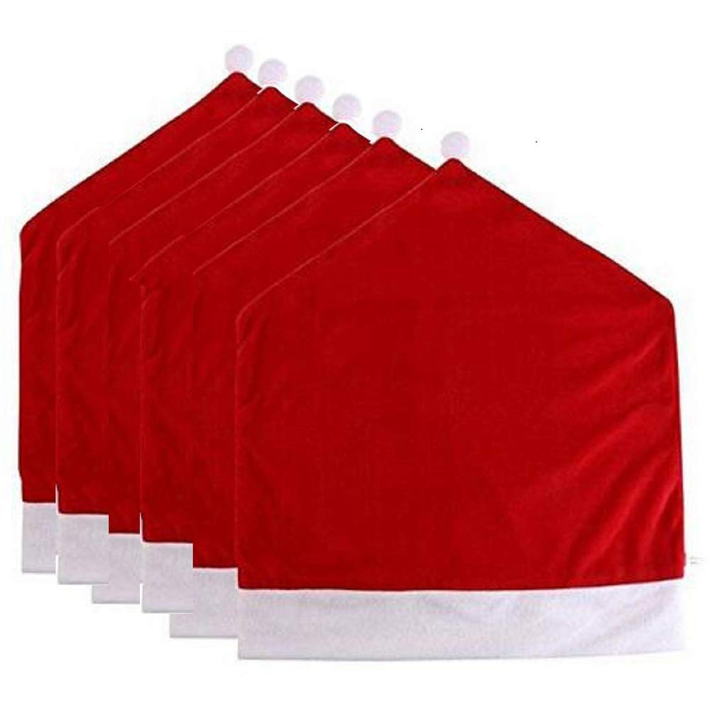 DotPet Christmas Chair Back Covers, Santa Claus Hat,Slipcovers Classical Dining Chair Decoration,Special Christmas Holiday Festive Decor (Classic Style-6Pack)