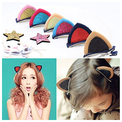 [10 PCS Lovely Cat Ears Hairpin Clips for Kids Loveliness Handwork Hair Barrettes for Girls, Best Christmas] (Cute Unique Infant Halloween Costumes)