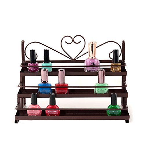 IWIVI Nail Polish Organizer Rack, 3 Tier Wall Mounted Essential Oil Shelf Case, Table Top Cosmetic Display Racks Holder (Bronze)