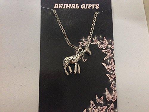 Collier Chaîne Plaqué Platine 45,7cm bébé girafe Argent Tibétain fait main Très fins Détails Livré avec emballage CH58